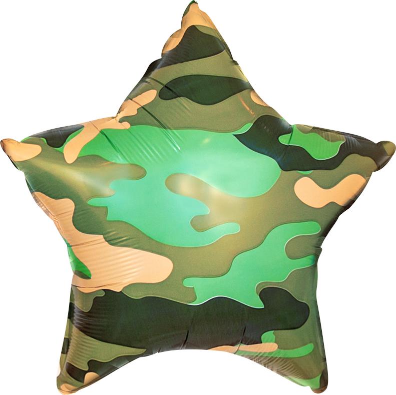 Agura Воздушный шар 18''/46 см Звезда, Камуфляж, Зеленый