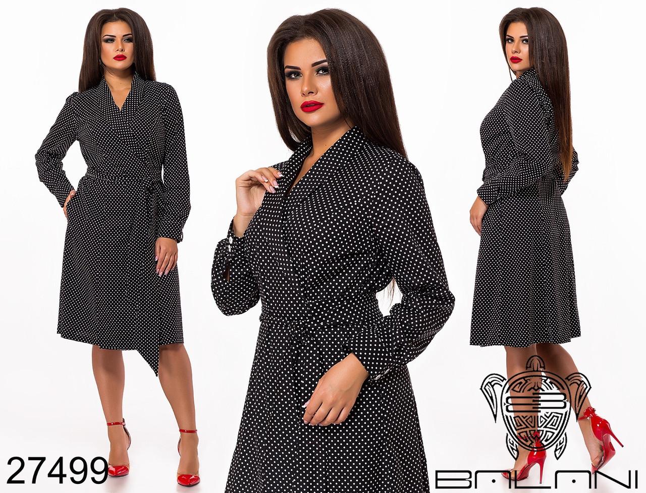 Коттоновое женское платье в горох раз. 48-50,52-54,56-58,60-62