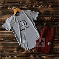 Мужской летний спортивный комплект Linkin Park серый с бордовым