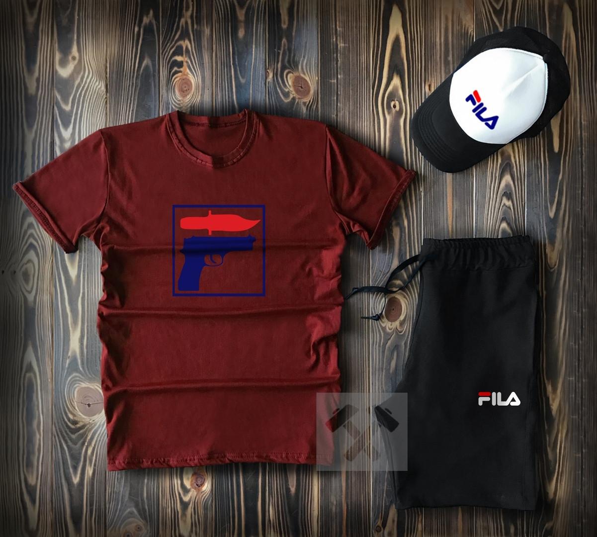 b6ac51776898f Мужской летний спортивный комплект с кепкой Filal бордового цвета топ-реплика  - Интернет-магазин