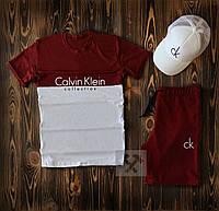 Мужской летний спортивный комплект бордовый с кепкой