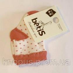 Носочки белые с красным в мелкий горошек, Betis, на 3-6 мес, 6-8.