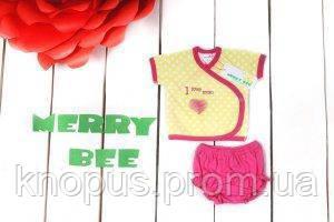 """Комплект для девочки """"Сердце"""" (распашонка,  шортики), Merry Bee, размер 62"""