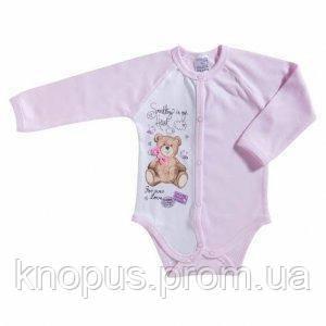 """Боди  для  девочки """"Мишка"""" (розовый), Garden baby, размеры 68, 74, 80"""