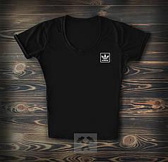 Женская футболка Adidas черного цвета топ-реплика