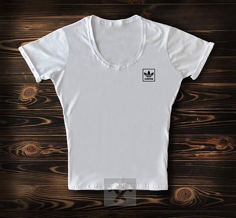 Женская футболка Adidas белого цвета топ-реплика, фото 2