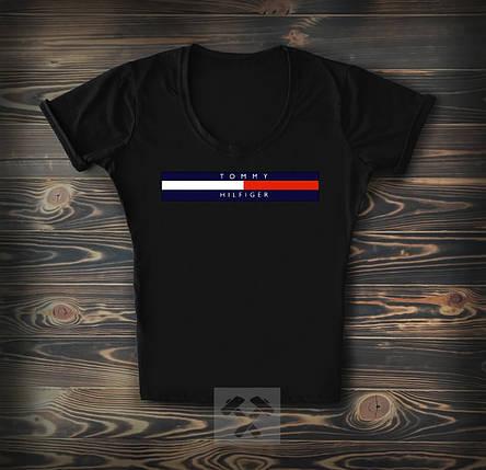 Жіноча футболка коттоновая Hilfiger чорного кольору топ-репліка, фото 2