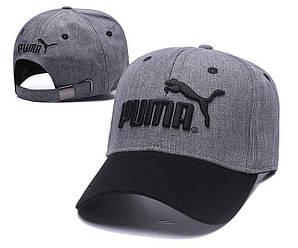 Бейсболка кепка Пума мужская/женская серая черая (реплика) Сap Puma Grey Black