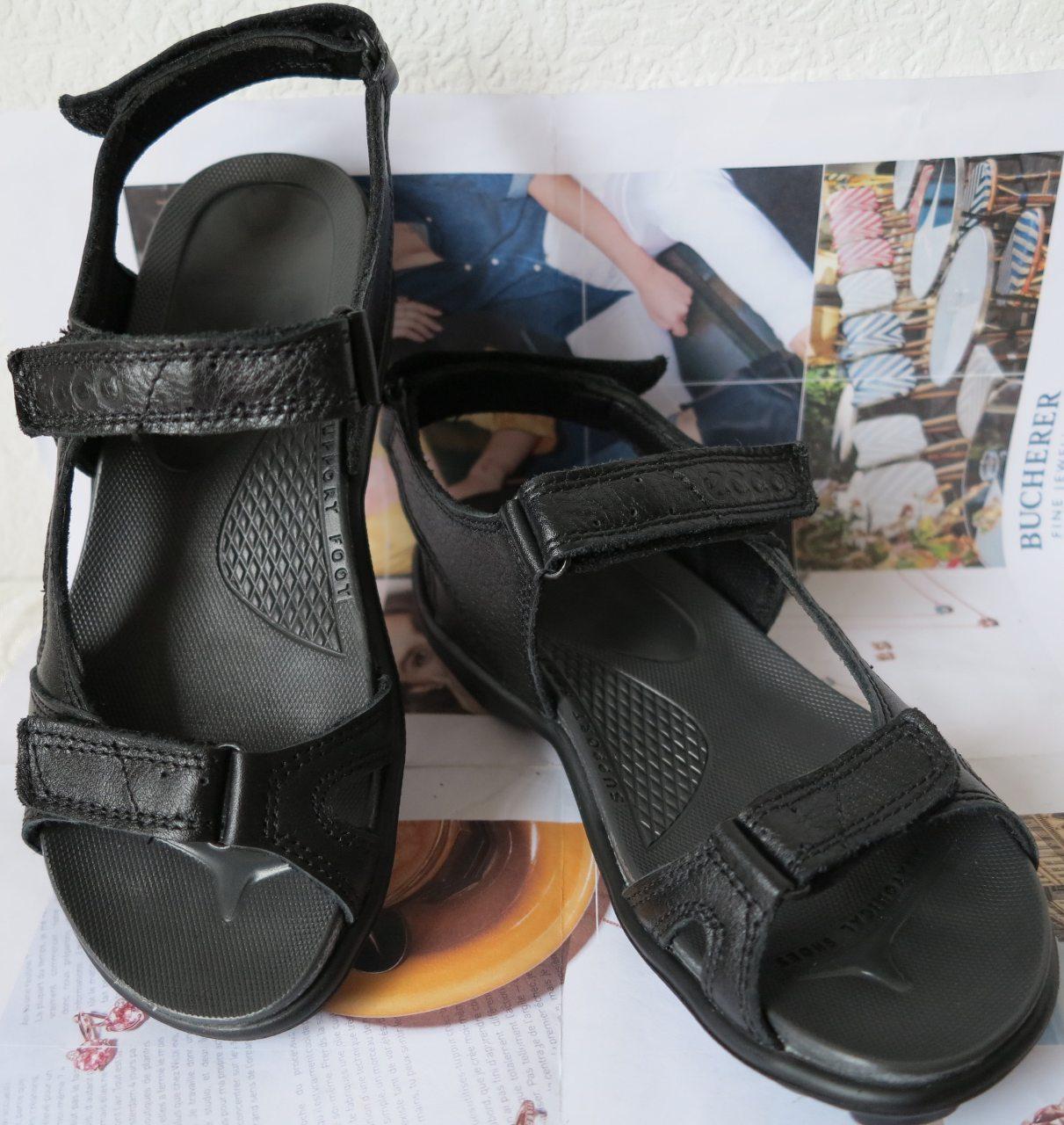 4693ce200 Ecco Супер! Женские сандалии в стиле Экко летние из натуральной кожи  босоножки черного цвета, ...