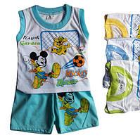 """Детский костюмдля мальчика """"Микки"""" от 6 мес до 24 месбелая майка с голубыми шортами"""