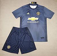 Детская футбольная форма Манчестер Юнайтед резерная синяя сезон 18-19