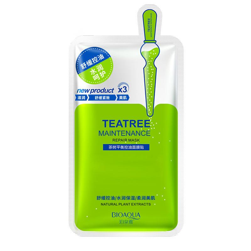 Маска для лица с экстрактом камелии японской Bioaqua New Tea Tree Maintenance Repair Mask, 30г