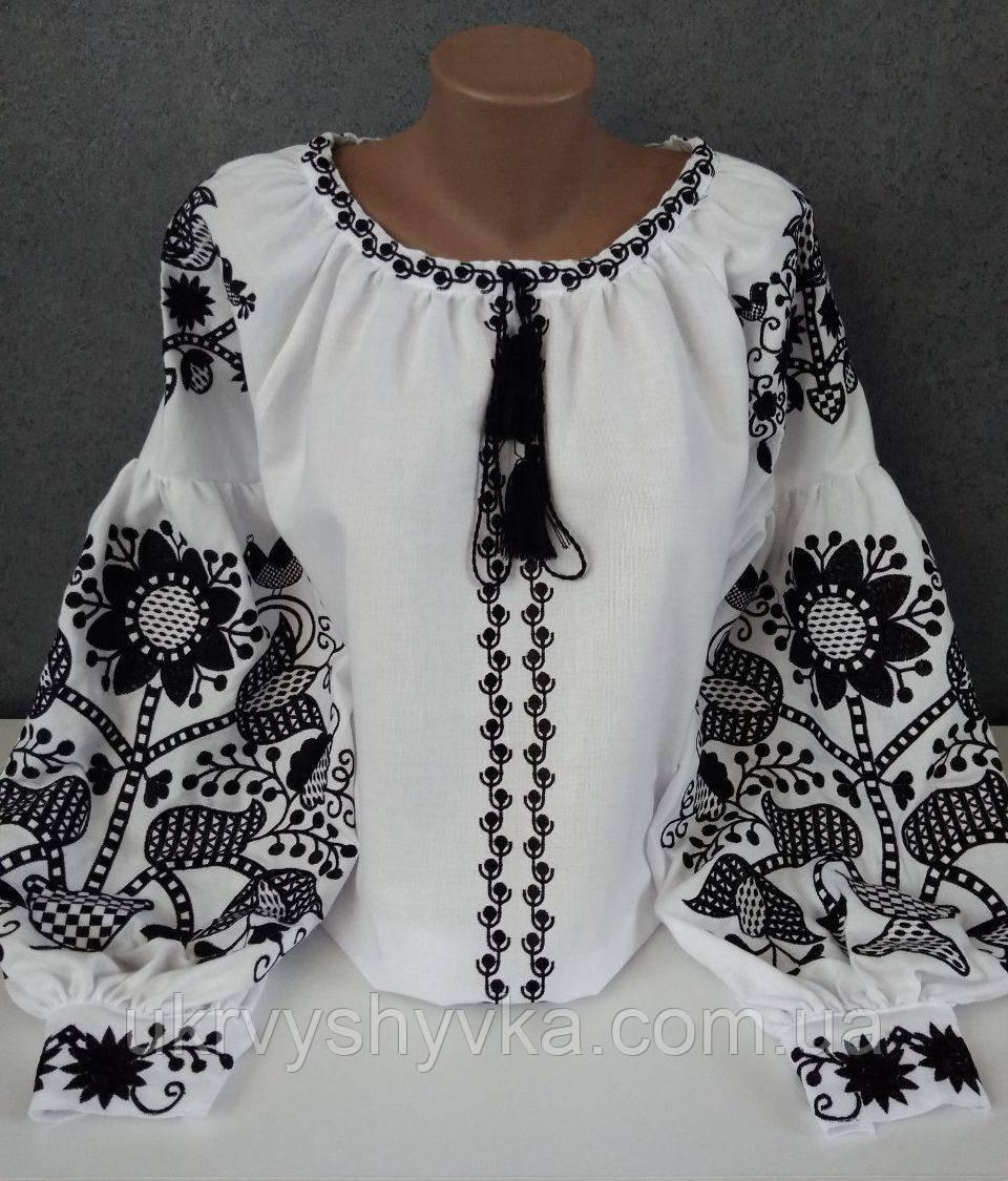 """Чорно-біла вишита сорочка """"Таємниця"""""""