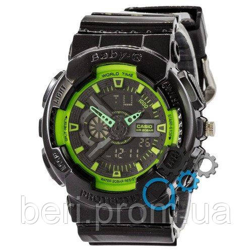 Часы наручные | Годинник наручний Casio Baby-G GA-110 G Black-Green (Черно-Зеленый)