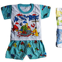"""Детский костюм для мальчика """"Angry Birds"""" от 6 мес до 24 мес белая футболка с голубыми шортами"""