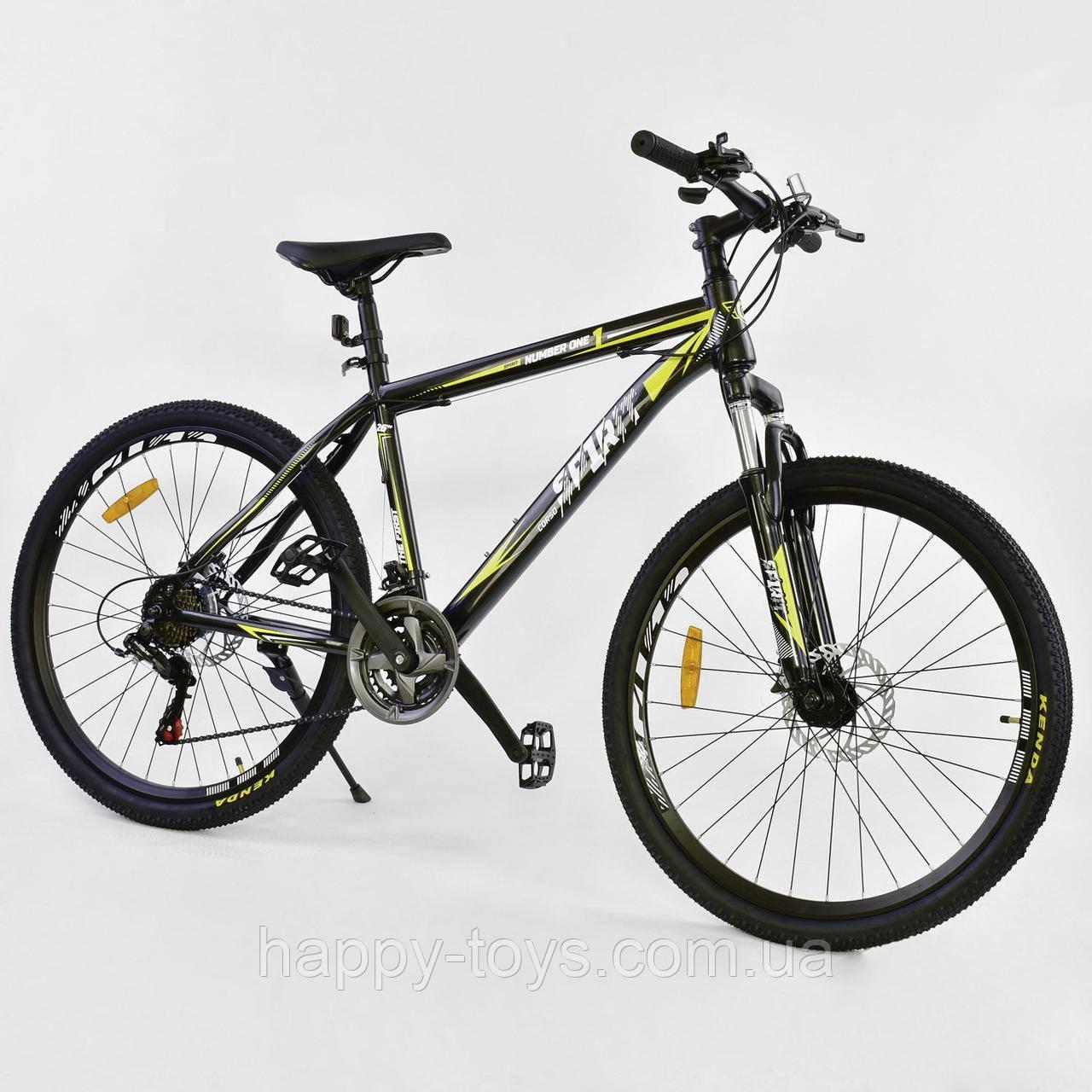 """Велосипед спортивный 26""""дюймов, ЧЁРНЫЙ, 21 скорость, рама металлическая 17"""", CORSO SPIRIT JYT 001 - 2261"""