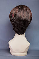 Короткий парик №18. Цвет мелирование темно-русый и каштан с яркой краснинкой