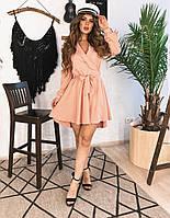 Короткое платье-халат розовое, арт.1036