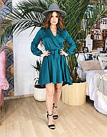 Короткое платье-халат бирюзовое, арт.1036, фото 1