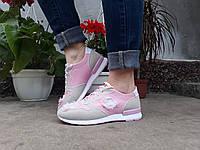"""Кроссовки Кеды Мокасины  женские и подростковые """"STAR"""" эко/ замш цвет розовый с бежевым."""