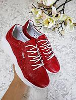 Женские кожаные кеды красные Ted Super Star