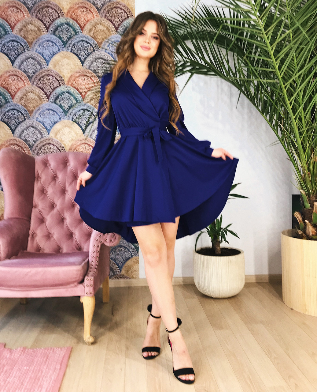 Короткое платье-халат темно-синее, арт.1036
