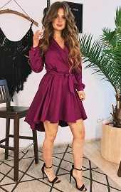Платье-халат марсала Viravi Wear, модель 1036