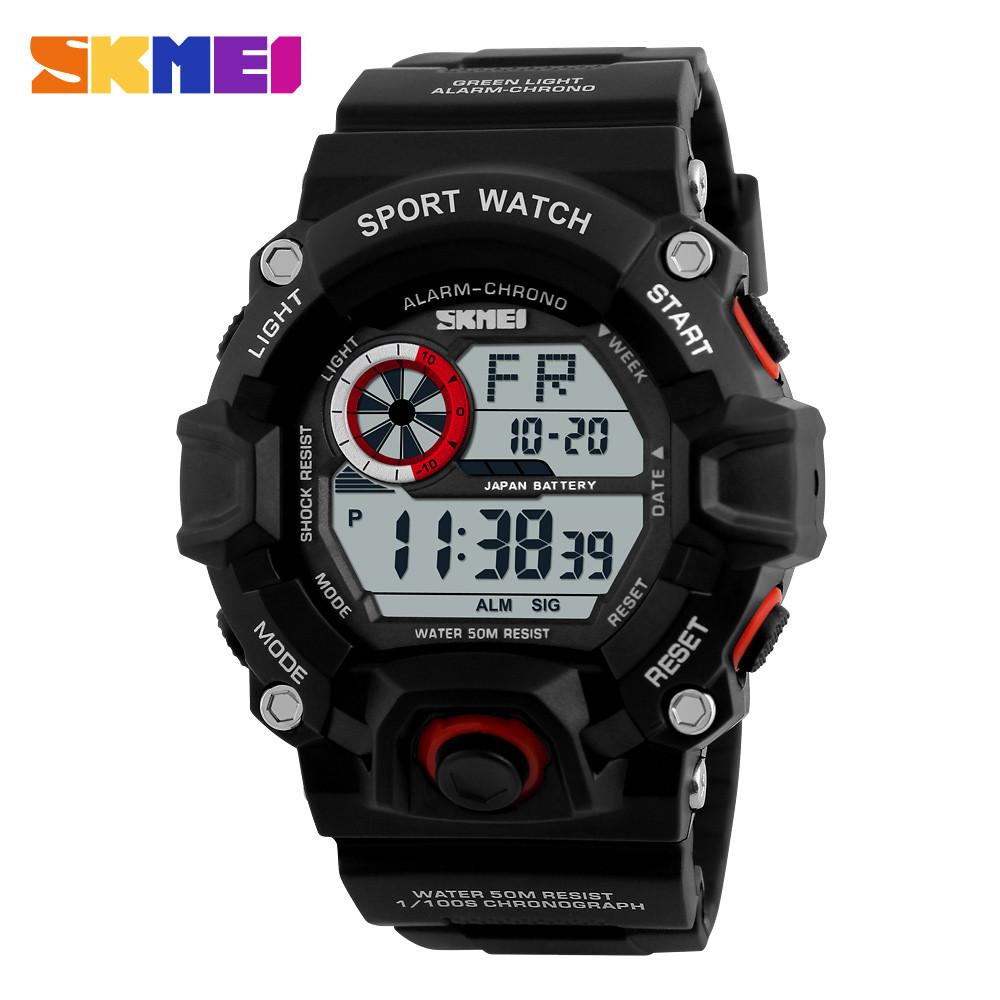 Skmei 1019 черные с красным ободком мужские спортивные часы
