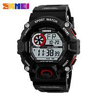 Skmei 1019 черные с красным ободком мужские спортивные часы, фото 1