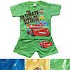 """Детский костюмдля мальчика """"Тачки""""от 9мес до 4 лет футболкас шортами салатовогоцвета"""