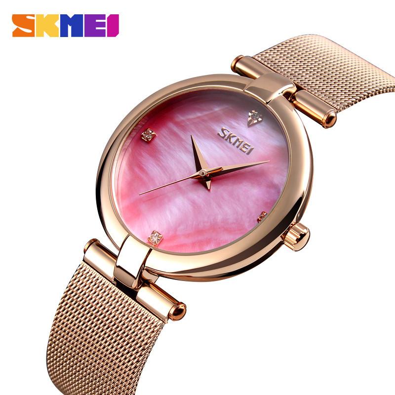 Skmei 9177 marble розовые женские часы