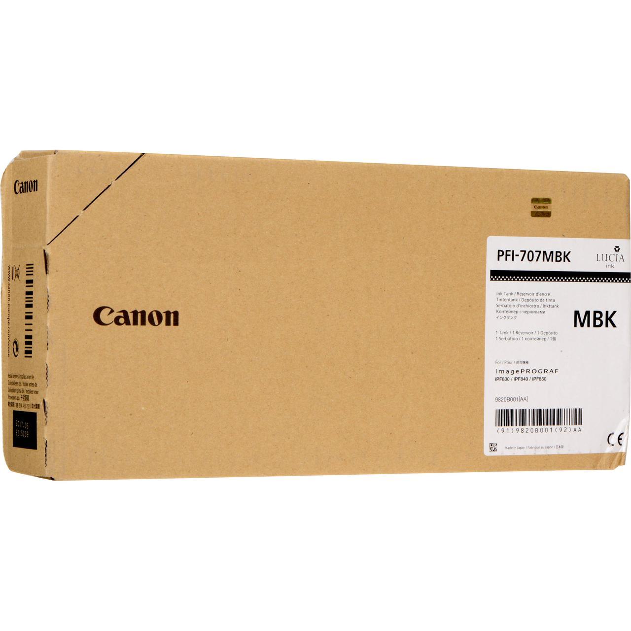 Картридж Canon PFI-707MBK для iPF830/840/850, Мatte Black, 700 мл