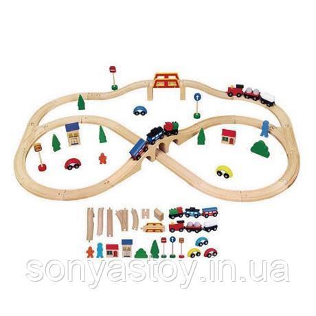 """Игрушка """"Железная дорога"""", деревянная, 49 деталей, в красивой подарочной коробке с ручкой, 1+, фото 1"""