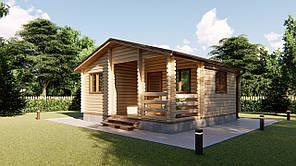Домик деревянный садовый для дачи из профилированного бруса 6х6 м. Кредитование строительства деревянных домов