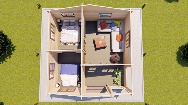 Домик деревянный садовый для дачи из профилированного бруса 6х6 м план