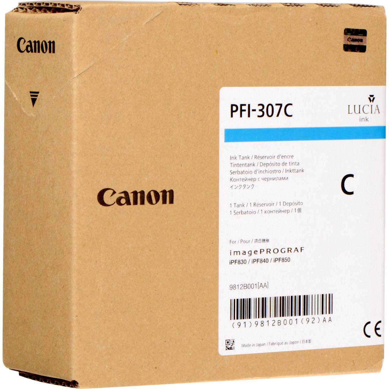 Картридж Canon PFI-307C для iPF830/840/850, Cyan, 330 мл