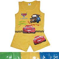 Детский костюмдля мальчика с машинкамиот 9 месдо 4лет майка с шортами желтого цвета