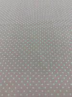 Одёжная ткань розовый штапель в белый горошек