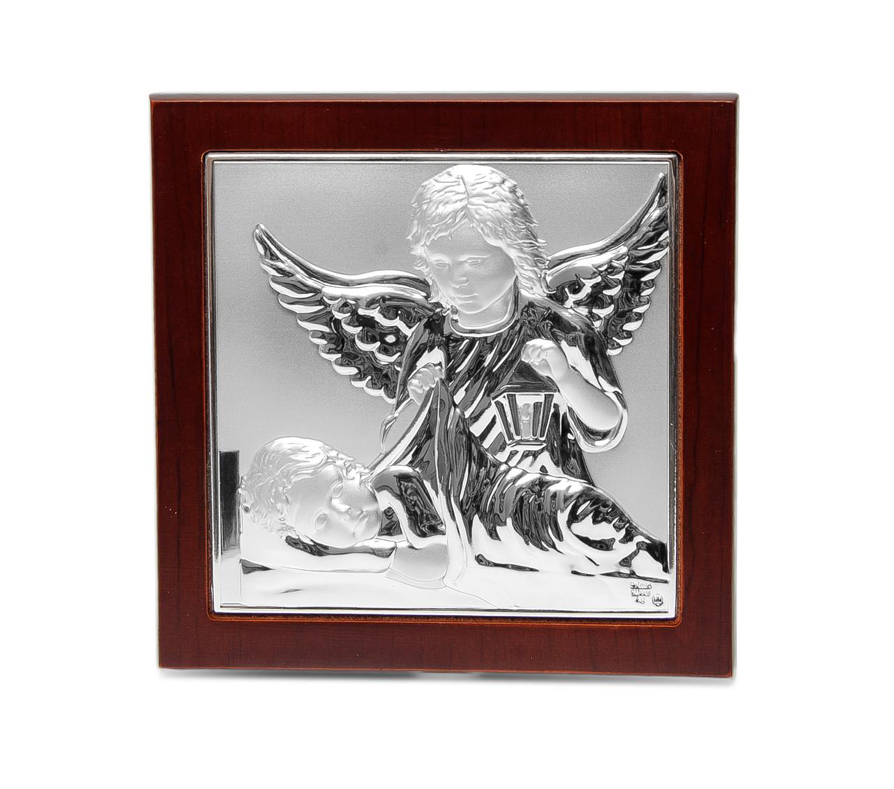 Икона Ангел Хранитель в серебре 10х10см