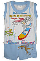 """Детский костюмдля мальчика """"Bear Sport"""" от 6 мес до 24 месбелая майка с голубыми шортами"""
