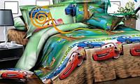 Постель в детскую кроватку Тачка Маквин. Ткань Бязь, Коттон. Цвет зеленый