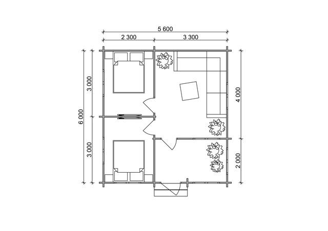 Дом садовый из профилированного бруса 5,6х6 м план проект