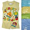 """Детский костюмдля мальчика """"Angry Birds"""" от 6 мес до 24 мес майка с шортами лимонного цвета"""