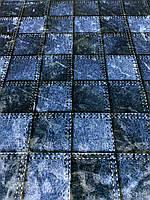 Ткань одёжная велюр джинсового цвета в крупную клетку