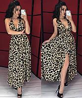22e2542e9a6 Летний леопардовый сарафан с декольте. Бежевый