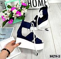 Босоніжки шкіряні на високій платформі з шнурками сині