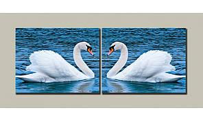 Модульная картина на холсте Лебеди 54х140 см (HAD-001)
