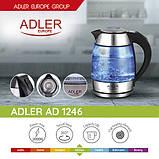 Стеклянный заварочный чайник 1,8 л Adler AD 1246, фото 7