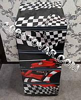 Комод пластиковый, с рисунком Ралли серо-чёрный, 4 ящика, Алеана