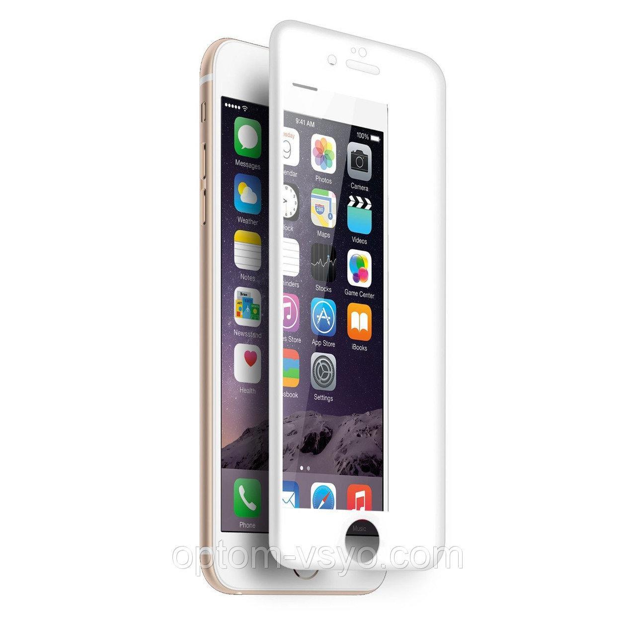 Защитное стекло 9D iPhone 6/6s White (полное покрытие)
